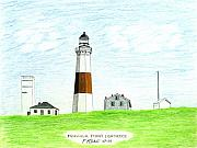 Seacoast  Drawings Metal Prints - Montauk Point Lighthouse Metal Print by Frederic Kohli