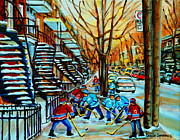 Hockey Painting Framed Prints - Montreal Hockey Paintings Framed Print by Carole Spandau