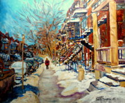 Montreal Storefronts Painting Framed Prints - Montreal Street In Winter Framed Print by Carole Spandau