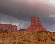 Storm Prints Framed Prints - Monument Valley - Rain Coming Framed Print by Merton Allen