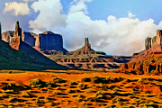 M Court Posters - Monument Valley Painting Poster by Nadine and Bob Johnston