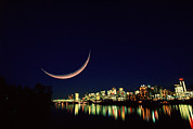 Crescent Moon Photos - Moon Over Vancouver by David Nunuk