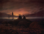 Moon Beach Framed Prints - Moon Rising Over the Sea Framed Print by Caspar David Friedrich