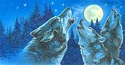 Wolf Howling Paintings - Moon Song by Richard De Wolfe