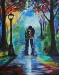 Rainy Street Painting Acrylic Prints - Moonlight Kiss Acrylic Print by Leslie Allen
