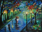 Embracing Painting Posters - Moonlight Stroll Poster by Leslie Allen