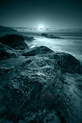 Cornwall Digital Art Prints - Moonlit beach Print by Jaroslaw Grudzinski