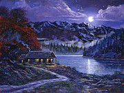 Mountain Snow Landscape Paintings - Moonlit Cabin by David Lloyd Glover