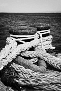 Ropes Prints - Mooring Ropes On Old Metal Harbour Bollard Scotland Uk Print by Joe Fox