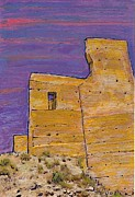 Violet Mixed Media Posters - Moorish Fort in Jumilla Poster by Sarah Loft