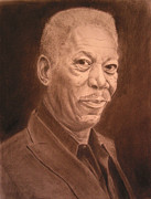 Morgan Drawings Posters - Morgan Freeman portrait Poster by Dawn Henderson