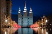 Temple Square Posters - Mormon Temple Christmas Lights Poster by Utah Images