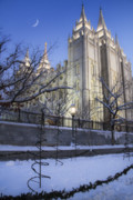 Snowy Evening Framed Prints - Mormon Temple in Winter Framed Print by Utah Images