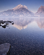 Mountain Reflection Posters - Morning Calm Poster by Andrew Soundarajan