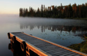 Water Color Digital Art Framed Prints - Morning mist over Lynx Lake in Northern Saskatchewan Framed Print by Mark Duffy