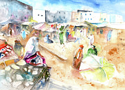 Marrakesh Paintings - Moroccan Market 01 by Miki De Goodaboom