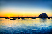 Morro Bay Posters - Morro Bay Sunset Poster by Kelly Wade