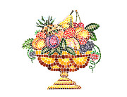 Italian Kitchen Painting Metal Prints - Mosaic Fruit Vase Metal Print by Irina Sztukowski