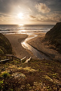 Stairs Prints - Moss Beach at Sunset Print by Matt Tilghman