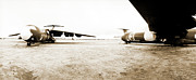 Stored Metal Prints - Mothballed C-141s Metal Print by Jan Faul