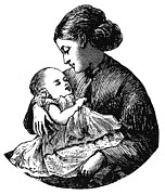 1870 Posters - MOTHER AND CHILD, c1870 Poster by Granger