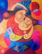 Abstract Mother And Child Paintings - Mother And Child by Hermel Alejandre