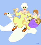Mother Goose Posters - Mother Goose On Her Flying Goose Poster by Marian Cates