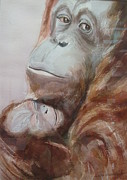 Caring Mother Painting Originals - Mother Love by Edith Hunsberger