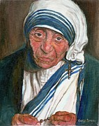 Crucifix Art Paintings - Mother Teresa by Carole Spandau