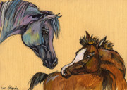 Horses Drawings - Motherhood by Angel  Tarantella