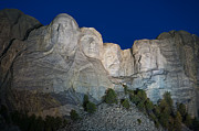 Roosevelt Photo Framed Prints - Mount Rushmore Nightfall Framed Print by Steve Gadomski