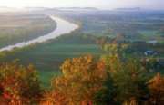 Deerfield River Metal Prints - Mount Sugarloaf Autumn Morning Metal Print by John Burk