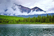 Pyramid Framed Prints - Mountain lake in Jasper National Park Framed Print by Elena Elisseeva