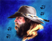 Painted Mixed Media Metal Prints - Mountain Man Metal Print by Robert Martinez