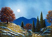 Moonlight Paintings - Mountain Moonrise by Frank Wilson