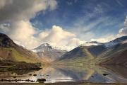 Snow Scenes Prints - Mountains And Lake At Lake District Print by John Short