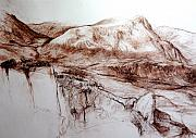 Wales Drawings - Mountains in Snowdonia by Harry Robertson