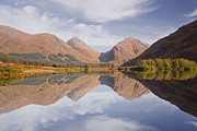 Glen Etive Photos - Mountains Reflecting Into Lochan Urr In Glen Etive by Julian Elliott Ethereal Light