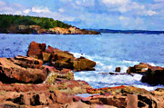 Maine Shore Digital Art Prints - Mt. Desert Island Print by Betty LaRue