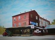 Wooden Building Painting Posters - Mt. Pleasant Milling Company Poster by Stacy Bottoms