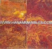 Marble Mosaic Glass Art - Multi Red Onyx Tiles by Hanam Marble Industries