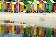 Sami Sarkis Framed Prints - Multicoloured beach huts on Muizenberg beach Framed Print by Sami Sarkis