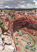 Canyon Painting Originals - Mummy Caves Overlook by Donald Maier