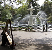 Forsythe Fountain Savannah Prints - Musical Fountain Print by James Knights