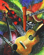 Instruments Digital Art Originals - Musically Speaking by Todd L Thomas