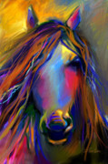 Svetlana Novikova Digital Art Posters - Mustang horse painting Poster by Svetlana Novikova