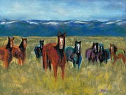 Mountains Pastels Framed Prints - Mustangs in Southern Colorado Framed Print by Frances Marino
