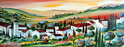 Toscana Paintings - My dream village by Roberto Gagliardi