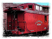 Caboose Digital Art Posters - My Little Red Caboose Poster by Gary Baird