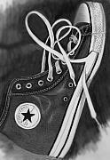 Athletic Drawings Posters - My Sons Chuck Taylor Converse Shoe Poster by Carliss Mora